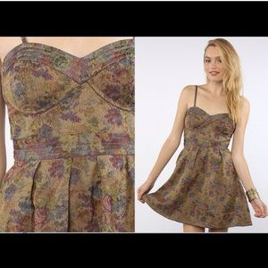 Free People Floral the Foiled Tapestry Dress